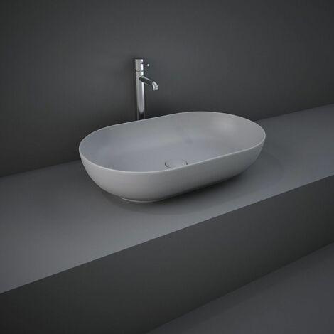 "main image of ""RAK Feeling Bathroom Oval Countertop Basin Sink Matt Grey 550mm Waste Stylish"""