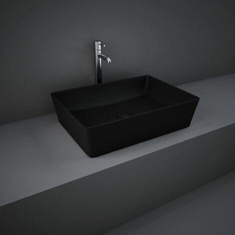 "main image of ""RAK Feeling Bathroom Rectangular Countertop Basin Sink Matt Black 500mm Waste"""