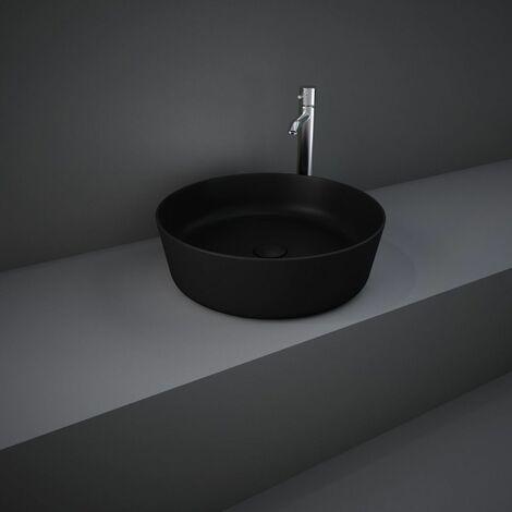 "main image of ""RAK Feeling Bathroom Round Countertop Basin Sink Matt Black 420mm Waste Stylish"""