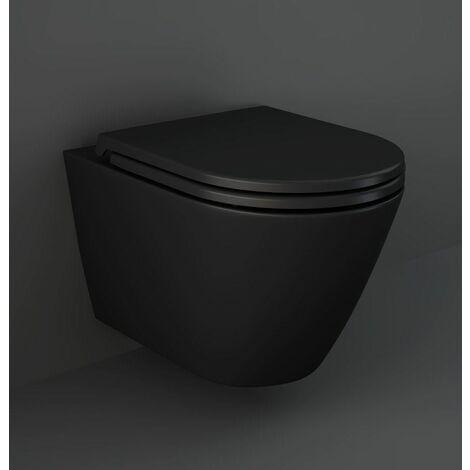 "main image of ""RAK Feeling Bathroom Wall Hung Toilet Pan Rimless Matt Black Soft Close Seat"""