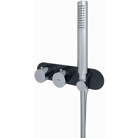 RAK Feeling Black Round Horizontal Concealed Thermostatic Dual Control Shower Valve - RAKFSV2504RHS