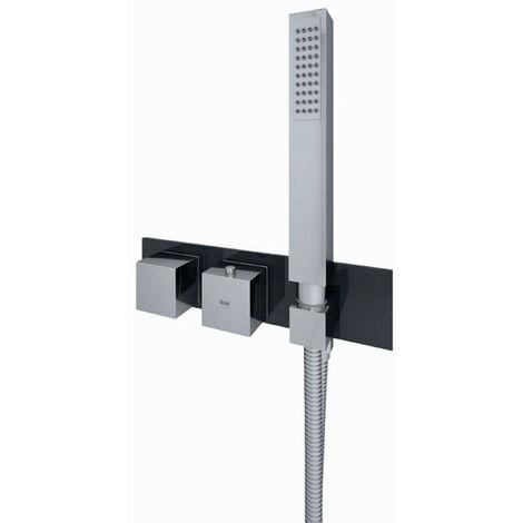 RAK Feeling Black Square Horizontal Concealed Thermostatic Dual Control Shower Valve - RAKFSV2504SHS