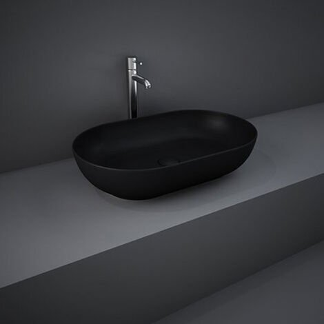 RAK Feeling Oval Countertop Wash Basin 550mm Wide - Matt Black