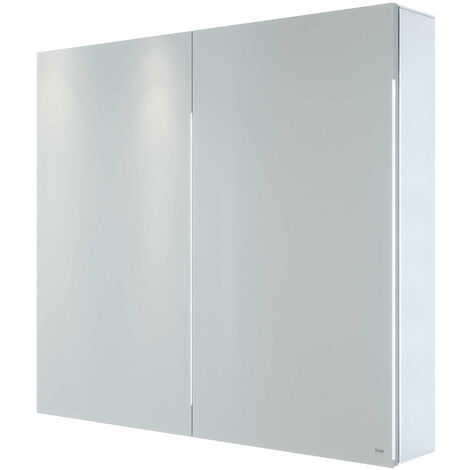 RAK Gemini 2-Door Mirrored Bathroom Cabinet 700mm H x 800mm W - Stainless Steel