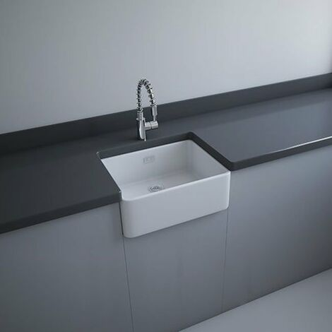 RAK Gourmet 2 Ceramic Belfast Kitchen Sink 1.0 Bowl 595mm L x 475mm W - White