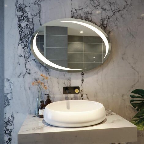 RAK Hades LED Bathroom Mirror Demister Pad Oval Illuminated IP44 600 x 900mm