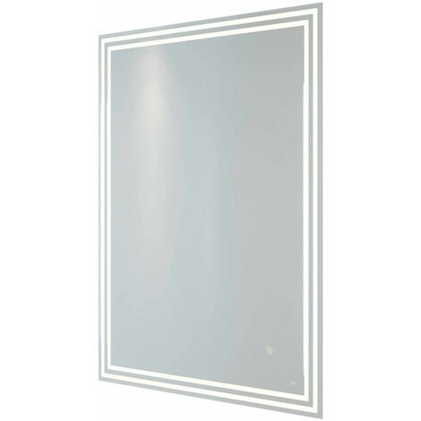 RAK Hermes Portrait LED Mirror with Switch and Demister Pad 800mm H x 600mm W Illuminated