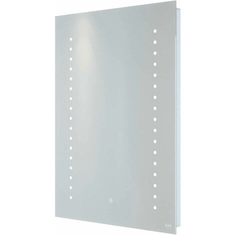 RAK Hestia LED Portrait Mirror with Switch and Demister Pad 700mm H x 500mm W Illuminated
