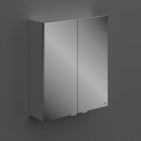RAK Joy Unlit Rectangular Bathroom Wall Mirror Door Shelves Cabinet 682 x 600mm