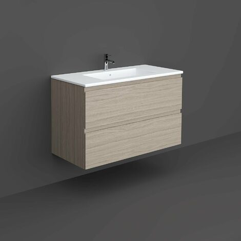 RAK Joy Wall Hung Vanity Unit with Basin 1000mm Wide - Grey Elm