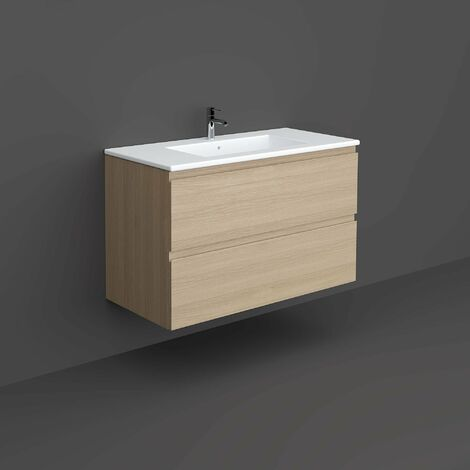 RAK Joy Wall Hung Vanity Unit with Basin 1000mm Wide - Scandinavian Oak