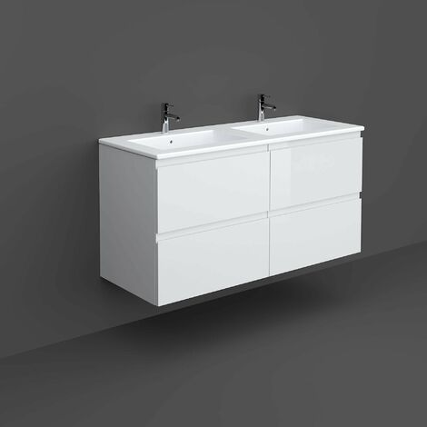 RAK Joy Wall Hung Vanity Unit with Basin 1200mm Wide - Pure White