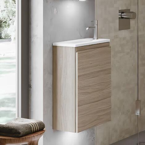 RAK Joy Wall Hung Vanity Unit with Basin 400mm Wide - Grey Elm