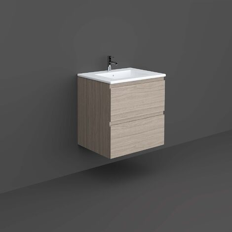 RAK Joy Wall Hung Vanity Unit with Basin 600mm Wide - Grey Elm