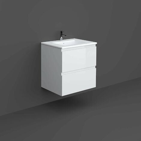 RAK Joy Wall Hung Vanity Unit with Basin 600mm Wide - Pure White