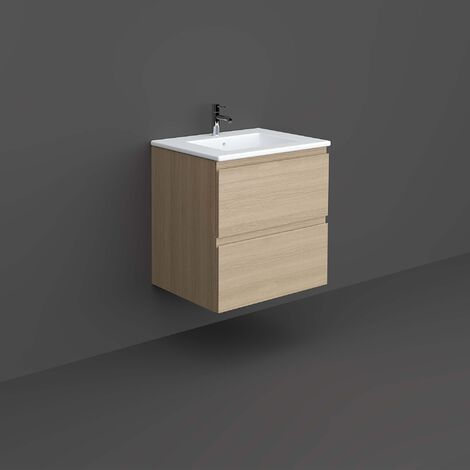 RAK Joy Wall Hung Vanity Unit with Basin 600mm Wide - Scandinavian Oak