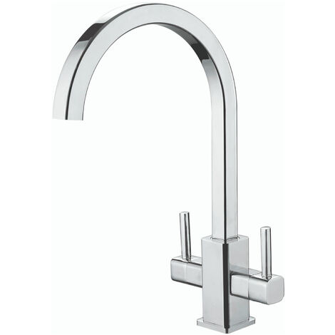 RAK Kitchen Sink Mixer Tap Modern Twin Lever - Chrome