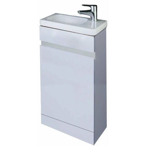RAK Manhattan Slimline Floor Standing Vanity Unit Resort Basin 450mm 1 Tap Hole RH - Gloss White