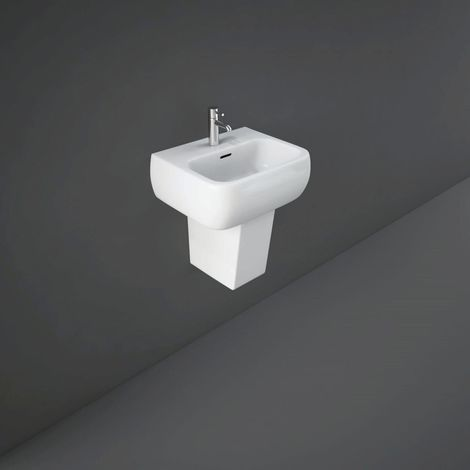 RAK Metropolitan 420mm Basin with 1 Tap Hole and Semi Pedestal