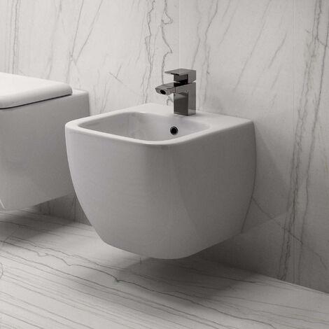 RAK Metropolitan Rimless Wall Hung Bidet with Hidden Fixations 525mm Projection - White