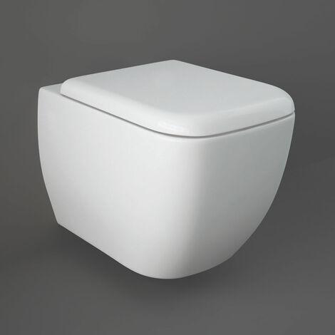 RAK Metropolitan Rimless Wall Hung Toilet Hidden Fixations 525mm Projection - Soft Close Seat