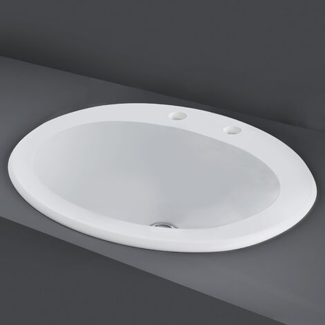 RAK Mira Inset Countertop Basin 560mm Wide - 2 Tap Hole