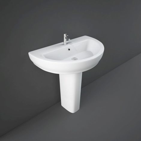 RAK Moon 800mm Basin with 1 Tap Hole and Full Pedestal