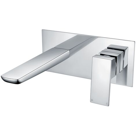 RAK Moon Wall Mounted Basin Mixer Tap with Back Plate - Chrome
