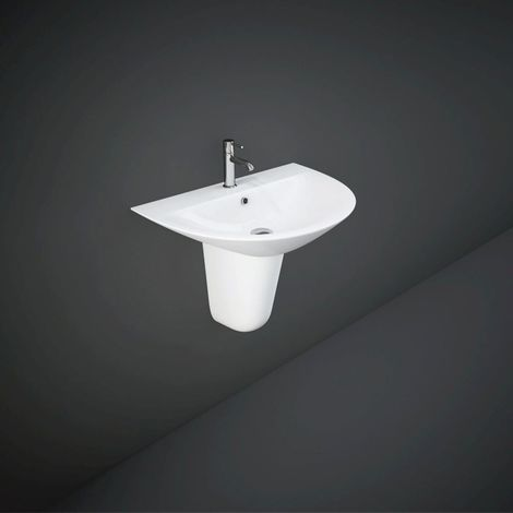 RAK Morning 650mm Basin with 1 Tap Hole and Semi Pedestal
