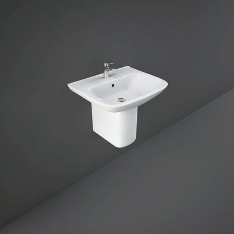 RAK Origin 520mm Basin with 1 Tap Hole and Semi Pedestal