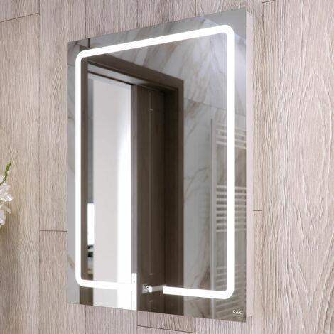RAK Pegasus LED Portrait Mirror with Switch and Demister Pad 800mm H x 600mm W Illuminated