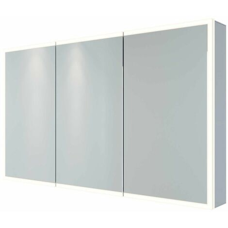 RAK Pisces Bathroom Mirror Cabinet Cupboard Triple Door Aluminium 700 x 1200mm