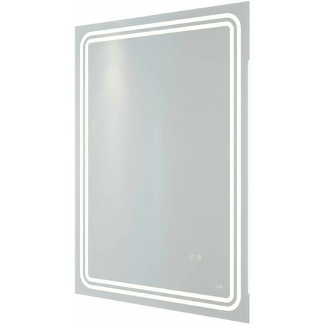 RAK Pluto LED Portrait Bluetooth Mirror with Switch and Demister Pad 800mm H x 600mm W Illuminated