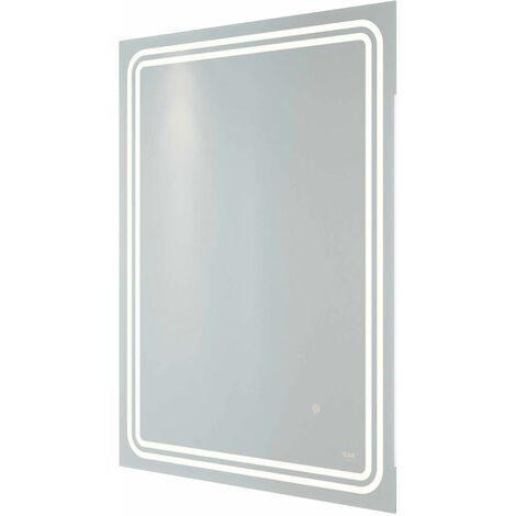 RAK Pluto LED Portrait Mirror with Switch and Demister Pad 800mm H x 600mm W Illuminated