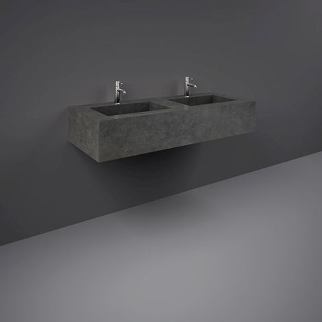 RAK Precious Behind Grey 1200mm Double Wall Mounted Basin with 1 Tap Hole per Bowl - PRECT12347104A