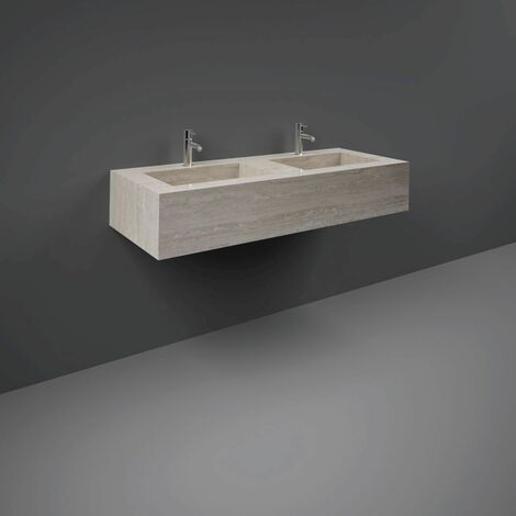 RAK Precious Travertino Ivory 1200mm Double Wall Mounted Basin with 1 Tap Hole per Bowl - PRECT12347102A