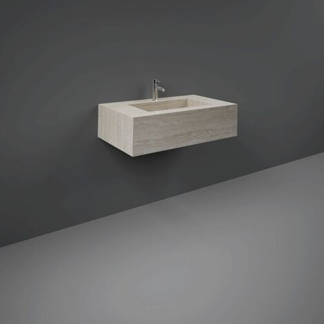 RAK Precious Travertino Ivory 800mm Wall Mounted Basin with 1 Tap Hole - PRECT08347102A