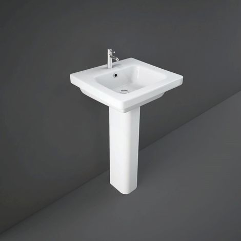 RAK Resort 500mm Basin with 1 Tap Hole and Full Pedestal