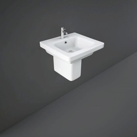 RAK Resort 550mm Basin with 1 Tap Hole and Semi Pedestal