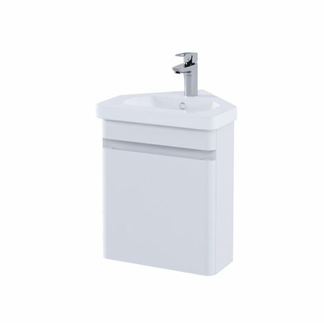 RAK Resort Bathroom Cloakroom Vanity Unit 450mm Basin Cupboard Storage White