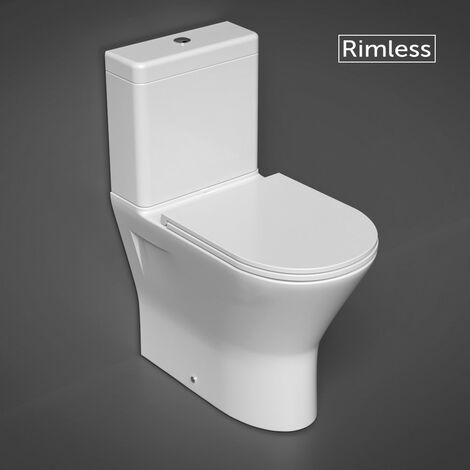 RAK Resort Maxi Close Coupled Closed Back Toilet & Slimline Soft Close Seat - size - color White