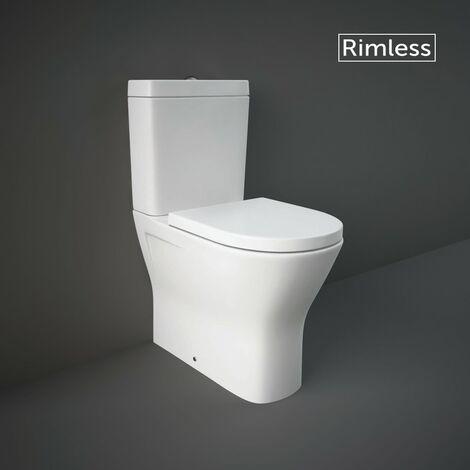 RAK Resort Maxi Close Coupled Closed Back Toilet & Wrapover Soft Close Seat - size - color White