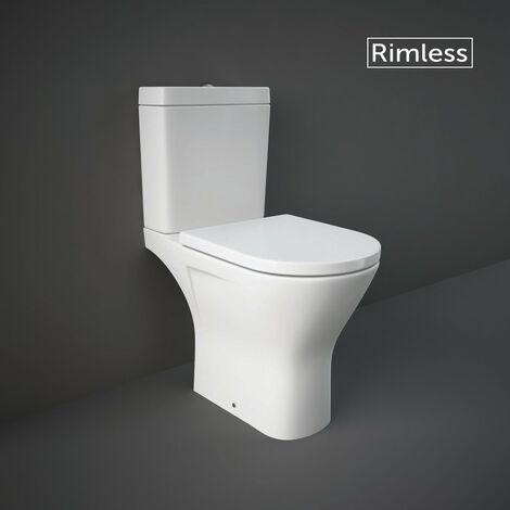 RAK Resort Maxi Close Coupled Open Back Toilet & Wrapover Soft Close Seat - size - color White