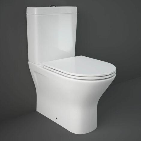 RAK Resort Mini Close Coupled Back to Wall Rimless Toilet WC Pack - Slim Sandwich Soft Close Seat