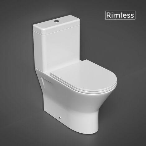 RAK Resort Mini Close Coupled Closed Back Toilet & Slimline Soft Close Seat - size - color White