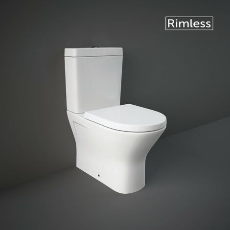 RAK Resort Mini Close Coupled Closed Back Toilet & Wrapover Soft Close Seat - size - color White