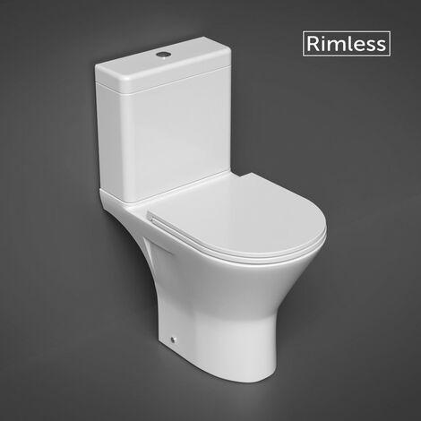 RAK Resort Mini Close Coupled Open Back Toilet & Slimline Soft Close Seat - size - color White
