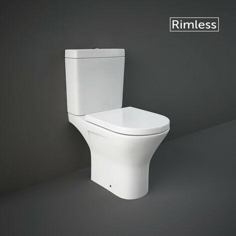 RAK Resort Mini Close Coupled Open Back Toilet & Wrapover Soft Close Seat - size - color White