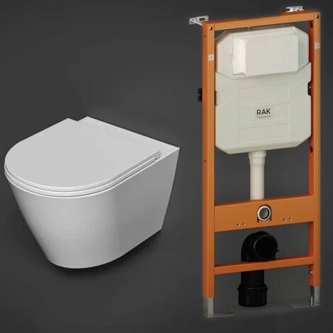 RAK Resort Rimless Hidden Fixation Wall Hung Toilet with Ecofix 1140mm Toilet Frame - Slim Sandwich Soft Close Seat
