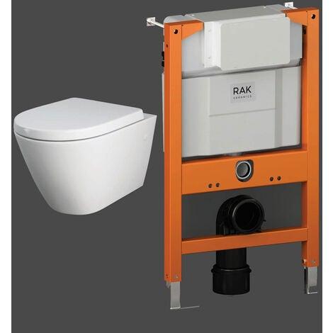 RAK Resort Rimless Hidden Fixations Wall Hung Toilet with Ecofix 820mm Toilet Frame - Soft Close Seat